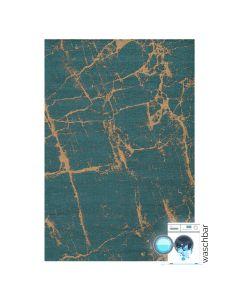 Antibakteriell Baumwolle Teppich Waschbar | Abstrakt Marmor Look Grün Gelb | MY6951