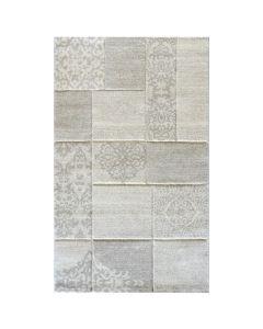 Teppich Wohnzimmer Modern Beige   Karo Muster Konturenschnitt MY7425