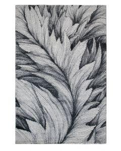 Teppich Kurzflor Grau Weiss | Designer Feder Muster MY7610