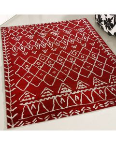 Teppich Kurzflor Rot Weiss   Vintage Boho Style   MY7796K