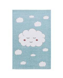 Kurzflor Kinder Teppich blau weiß Wolke Kinderzimmerteppich C001