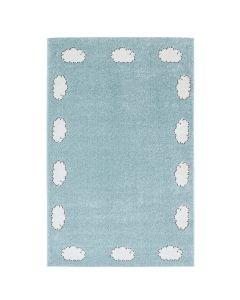 Kurzflor Kinder Teppich blau weiß Motiv Wolke Kinderzimmerteppich Spielteppich