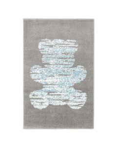 Kurzflor Kinder Teppich grau blau Motiv Bär Kinderzimmerteppich Spielteppich