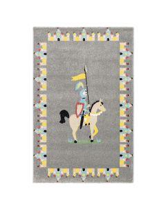 Kurzflor Kinder Teppich grau Motiv Ritter Burg Kinderzimmerteppich Spielteppich