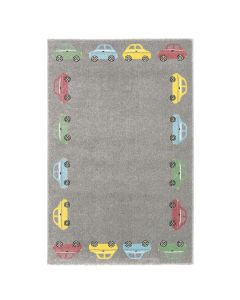 Kurzflor Kinder Teppich grau Motiv Autos Kinderzimmerteppich Spielteppich
