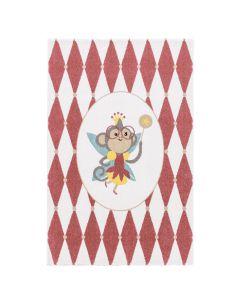 Kurzflor Kinder Teppich cream Motiv Affe Raute Kinderzimmerteppich Spielteppich