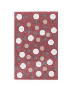 Kurzflor Kinder Teppich rot Motiv Kreise Kinderzimmerteppich Spielteppich NEU