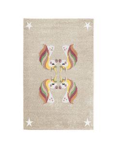 Kurzflor Kinder Teppich Cream Motiv Einhörner Kinderzimmerteppich Spielteppich