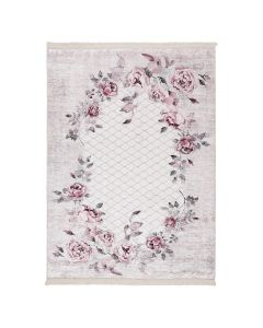 Antibakteriell Waschbarer Teppich Lila | Floral Blumen Landhausstil | MY2995