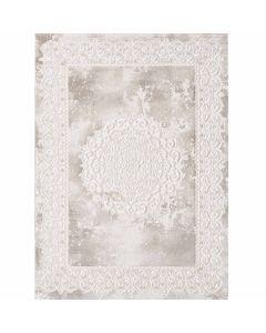 Designer Teppich in Beige mit Medaillon | Ornament Bordüre MY3205