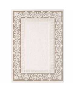 Designer Teppich in Braun Cream mit Vintage Muster | Bordüre MY3206