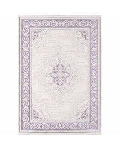 Designer Teppich in Pastel Lila mit Vintage Medaillon | Bordüre MY3201