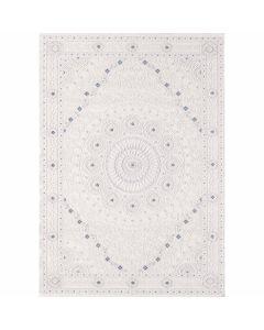 Designer Teppich in Weiss Cream mit Ornament Medaillon | Bordüre MY3203