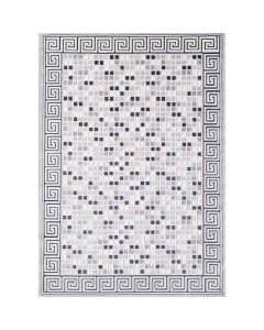 Moderner Teppich in Grau mit Mozaik Muster | Design Bordüre MY3207