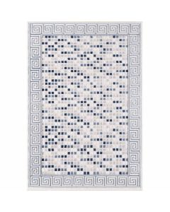 Moderner Teppich in Navy Blau mit Mozaik Muster | Design Bordüre MY3207