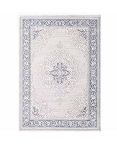 Designer Teppich in Pastel Turkis mit Vintage Medaillon Bordüre M3201
