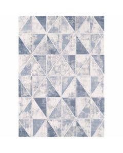 Moderner Teppich mit weichem Flor in geometrischem Muster in Blau Weiss Grau MY3212