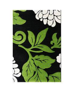 Kurzflor Wohnzimmerteppich Grün   gecarvte florale Muster   MY906G