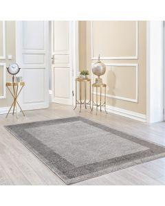 Kurzflor Teppich Grau Meliert | Muster Bordüre Umrandung MY7437S