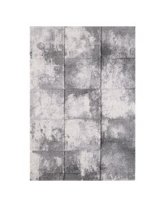 Moderner Kurzflor Teppich Grau in Kachel Optik aktuelles Design 2902