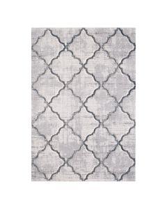 Kurzflorteppich Designer Teppich Weiß Rauten Muster Hand Gecarvt 2904