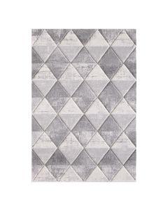 Moderner Kurzflorteppich Weiss symmetrisch angeordnete Rauten 2905