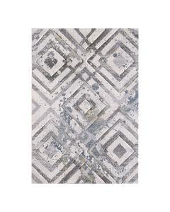 Moderner Teppich Kurzflor Weiß symmetrisch angeordnete Rauten 2906