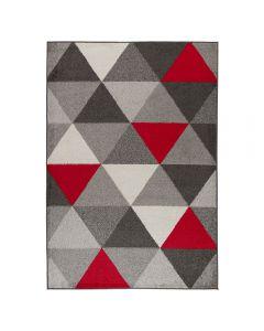 Kurzflor Teppich Rot Skandinavisches Dreieck Muster M1730