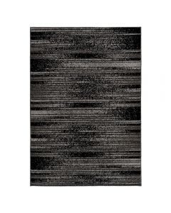 Kurzflor Teppich Grau Schwarz | Trendig Liniert MY1760