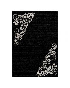 Teppich Kurzflor Schwarz | Floral Blumen Design MY1780
