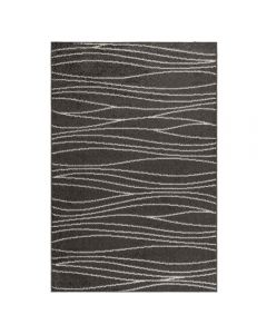 Kurzflor Teppich in Grau Weiss | geometrischer Linien Design | MY1850S