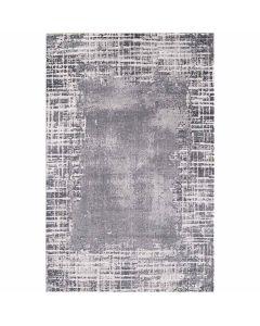 Kurzflor Teppich in Grau mit gestreifter Bordüre mit weichem Flor MY3210