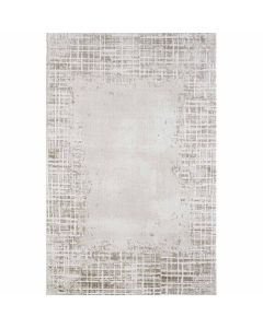 Kurzflor Teppich in Beige mit gestreifter Bordüre mit weichem Flor MY3210
