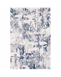 Moderner Wohnzimmerteppich mit weichem Flor in Kachel Muster in Blau Weiss MY3211