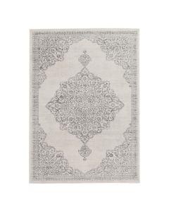 Barock Teppich Kurzflor Creme | Ornament Grau Style | MY3724