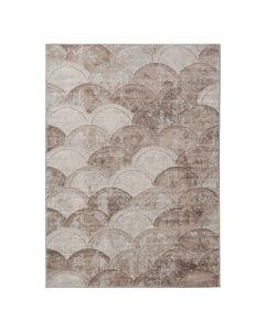 Moderner Kurzflor Teppich Braun Halbkreis Muster | MY3730b