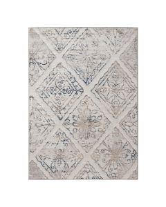 Moderner Kurzflor Teppich Beige Floral Abstraktes Muster M3734B