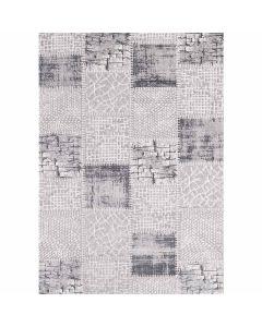 Patchwork Teppich im Vintage gekacheltem Look in Soft Grau MY3202