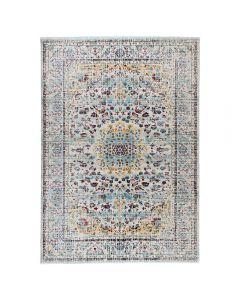 Vintage Teppich Used Look in Türkis Gelb   Rustik Design MY7609