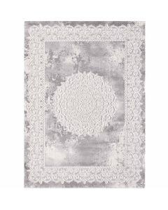 Designer Teppich in Grau mit Medaillon | Ornament Bordüre MY3205