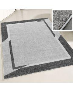 Teppich Wohnzimmer Modern Grau   Designer Bordüre Konturenschnitt MY7430G