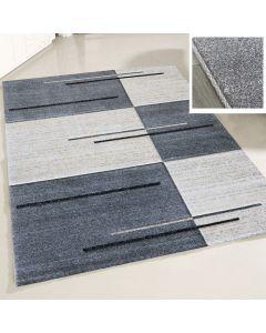Teppich Wohnzimmer Modern Grau | Kurzflor Kariert mit Konturen MY7423G
